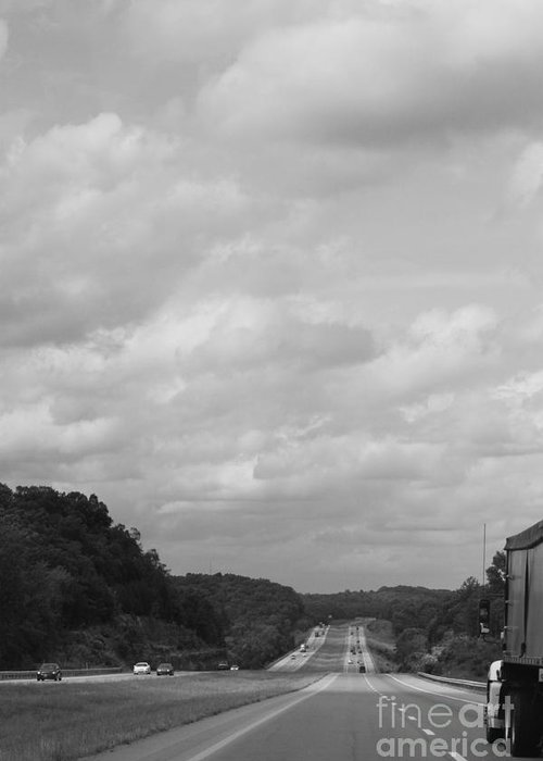 Black And White Greeting Card featuring the photograph Traveling Home Again by Jennifer E Doll