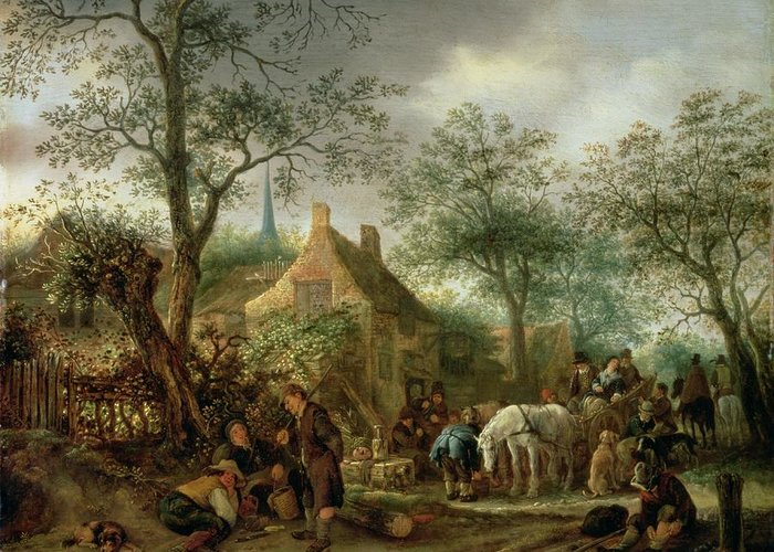 Traveller Greeting Card featuring the painting Travellers At An Inn by Isack van Ostade