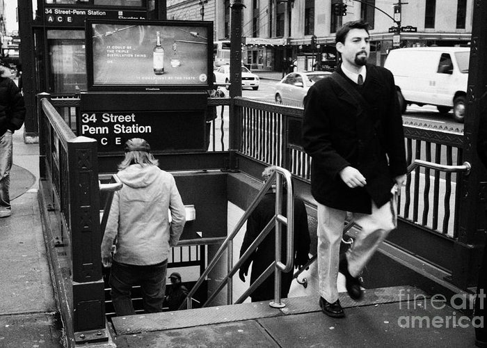 Usa Greeting Card featuring the photograph Travellers Exiting And Entering 34th Street Entrance To Penn Station Subway New York City by Joe Fox