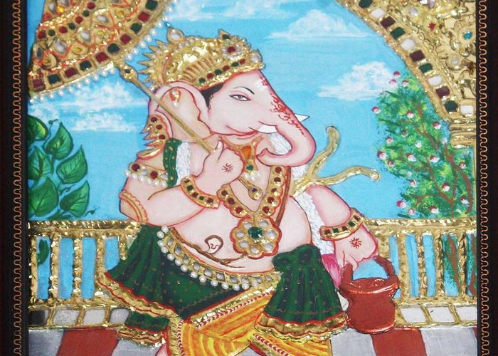 Tanjore Greeting Card featuring the painting Travelling Ganesh by Jayashree