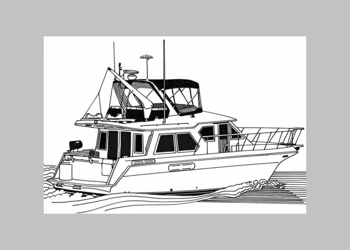 Yacht Portraits Greeting Card featuring the drawing Trawler Yacht by Jack Pumphrey