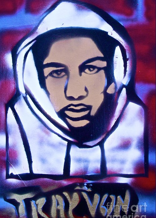 Trayvon Martin Greeting Card featuring the painting Trayvon's America by Tony B Conscious