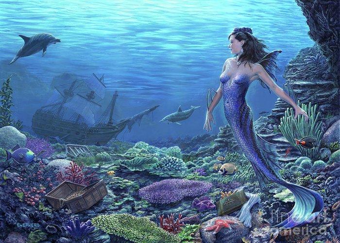 Mermaid Greeting Card featuring the painting Treasure of the Sea by Stu Shepherd
