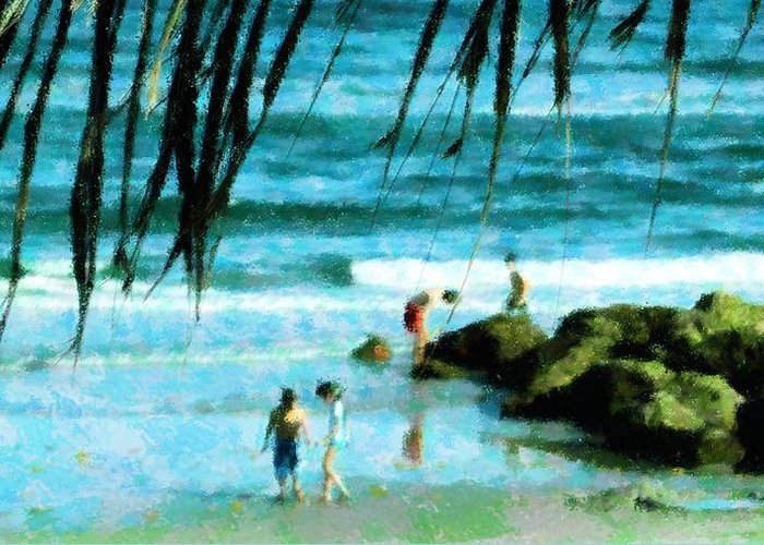 Beach Greeting Card featuring the mixed media Treasures At The Jetty by Florene Welebny