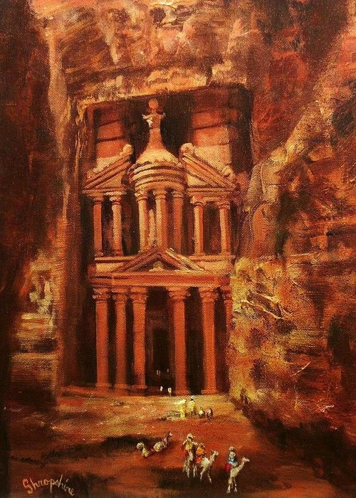 Jordan Greeting Card featuring the painting Treasury Of Petra by Tom Shropshire