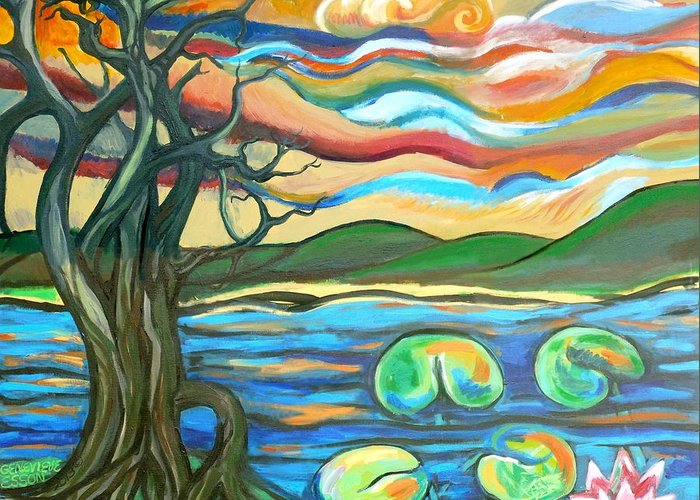 Tree Greeting Card featuring the painting Tree And Lilies At Sunrise by Genevieve Esson