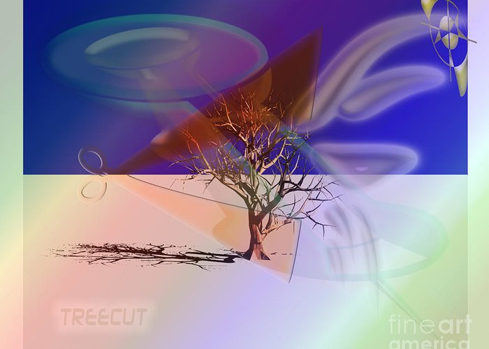 Graphic Greeting Card featuring the photograph Tree Cut by Luc Van de Steeg