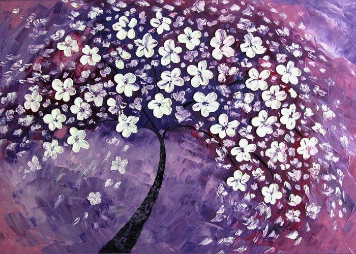 Landscape Greeting Card featuring the painting Tree In Purple by Mariana Stauffer