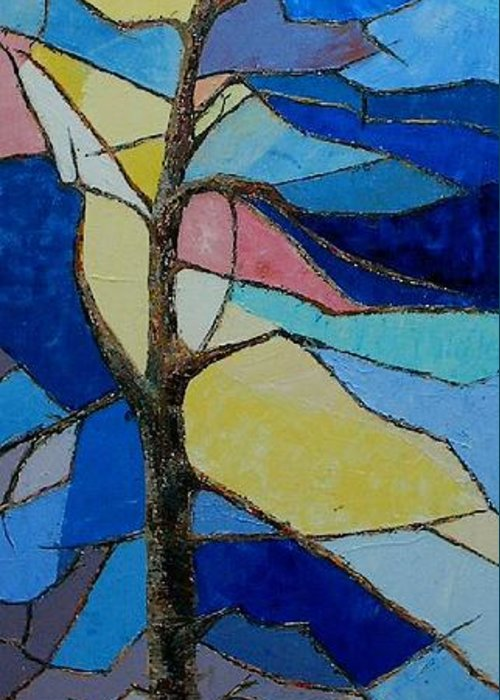Tree With Intense Multicolored Background Greeting Card featuring the painting Tree Intensity - Sold by Judith Espinoza
