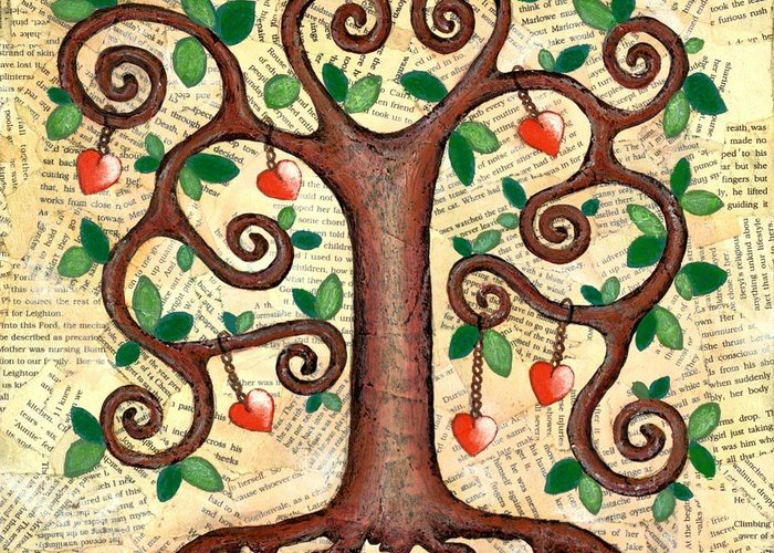 Tree Greeting Card featuring the mixed media Tree Of Hearts by Lisa Frances Judd