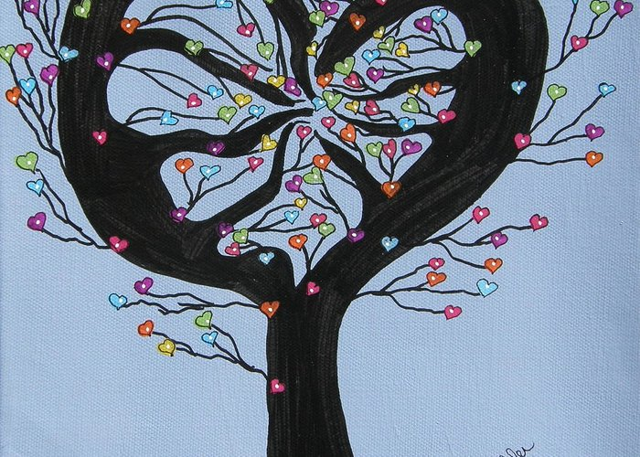 Tree Greeting Card featuring the painting Tree Of Hearts by Marcia Weller-Wenbert