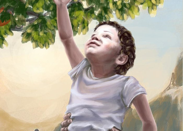 Prophetic Art Greeting Card featuring the painting Tree Of Life by Tamer and Cindy Elsharouni