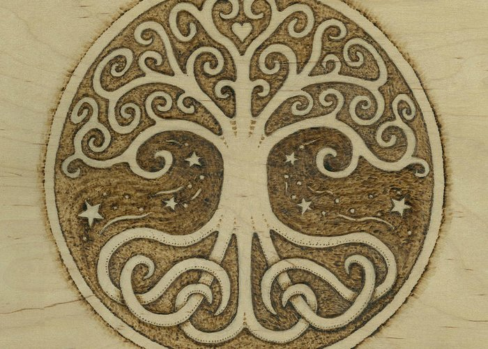 Tree Greeting Card featuring the pyrography Tree Of Life by Jason Gianfriddo
