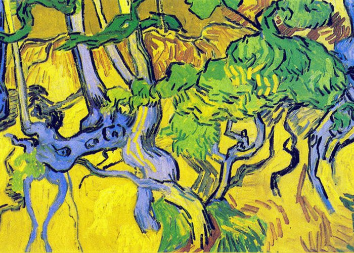Vincent Van Gogh Greeting Card featuring the digital art Tree Roots And Tree Trunks by Vincent Van Gogh