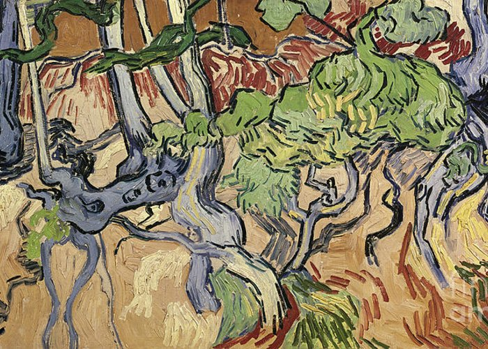 Landscape Greeting Card featuring the painting Tree Roots by Vincent Van Gogh