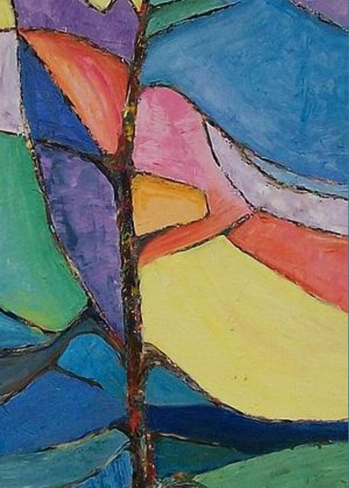 Impressionistic Greeting Card featuring the painting Tree Sky Symphony - Sold by Judith Espinoza