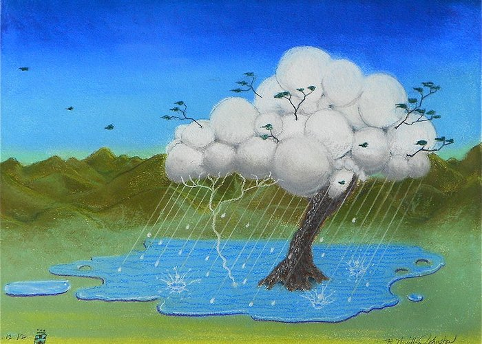 Tree Greeting Card featuring the mixed media Tree Storm by R Neville Johnston