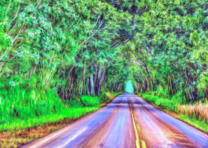 Tree Tunnel Greeting Card featuring the painting Tree Tunnel Kauai by Dominic Piperata