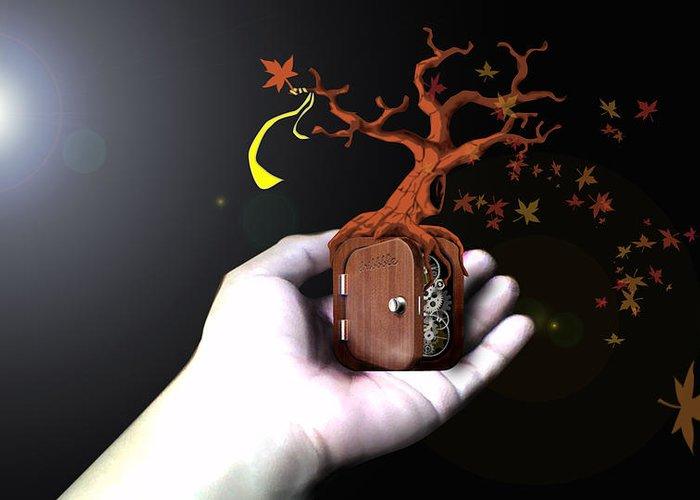 Tree Greeting Card featuring the digital art Treeclock by Racquel Delos Santos