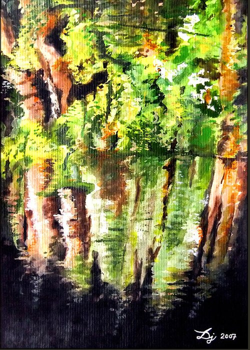 Trees Greeting Card featuring the painting Trees by Daniel Janda