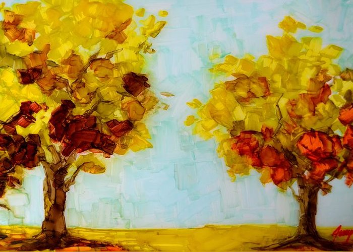 Art Greeting Card featuring the painting Trees In The Fall by Patricia Awapara