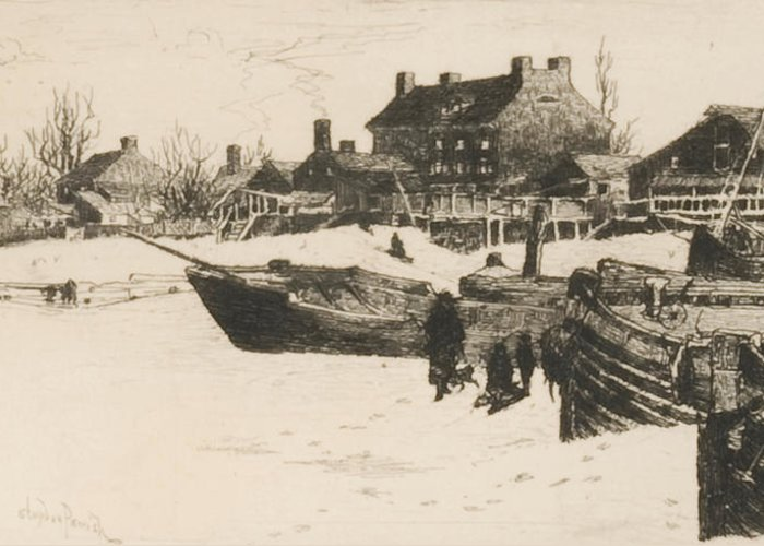 America;american Landscape;new Jersey;harbour;beached;boat;boats;house;houses; Mercer County;us;usa;east Coast;monochrome;northeast;northeastern Greeting Card featuring the drawing Trenton Winter by Stephen Parrish