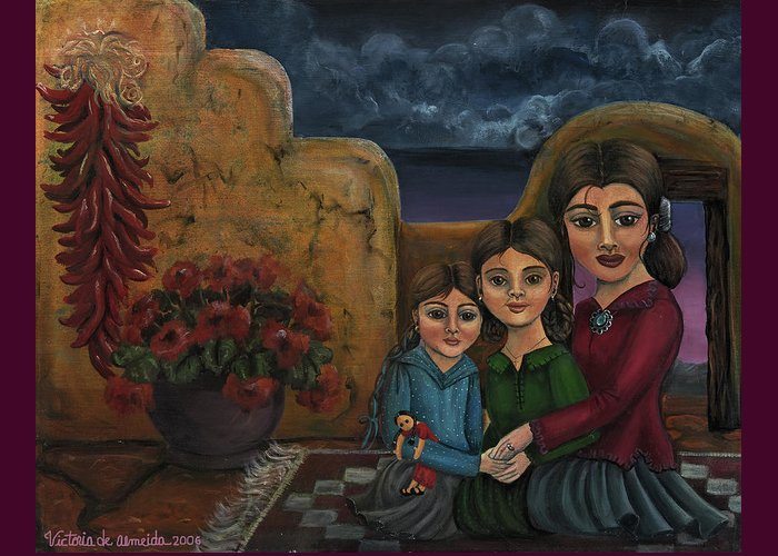 Mom Greeting Card featuring the painting Tres Mujeres Three Women by Victoria De Almeida