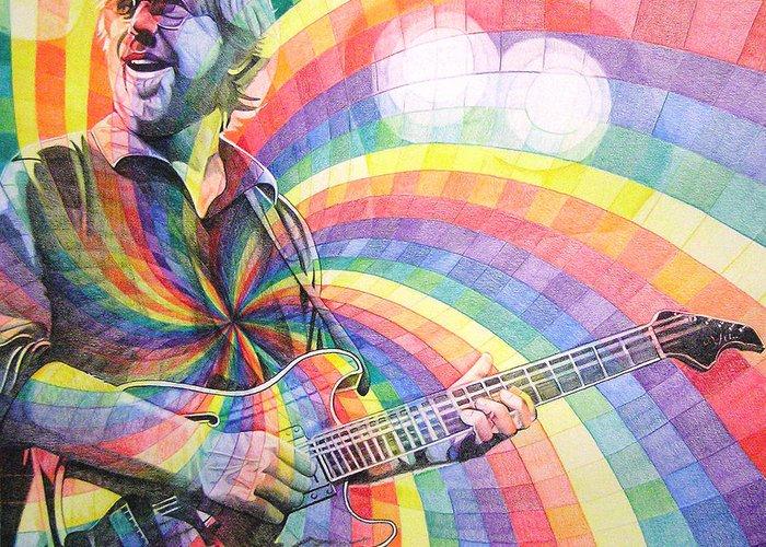 Phish Greeting Card featuring the drawing Trey Anastasio Rainbow by Joshua Morton