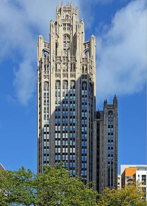Michigan Greeting Card featuring the photograph Tribune Tower Chicago - History Is Part Of The Building by Christine Till