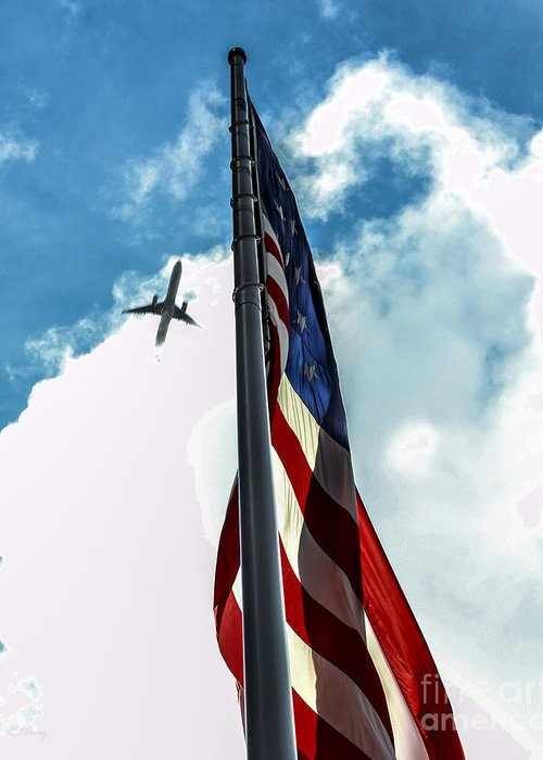 American Flag Greeting Card featuring the photograph Tribute To The Day America Stood Still by Rene Triay Photography