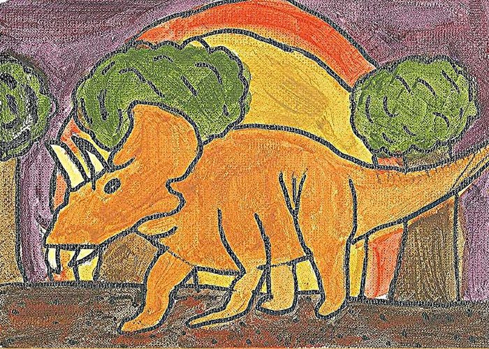 Triceratops Greeting Card featuring the painting Triceratops by Fred Hanna