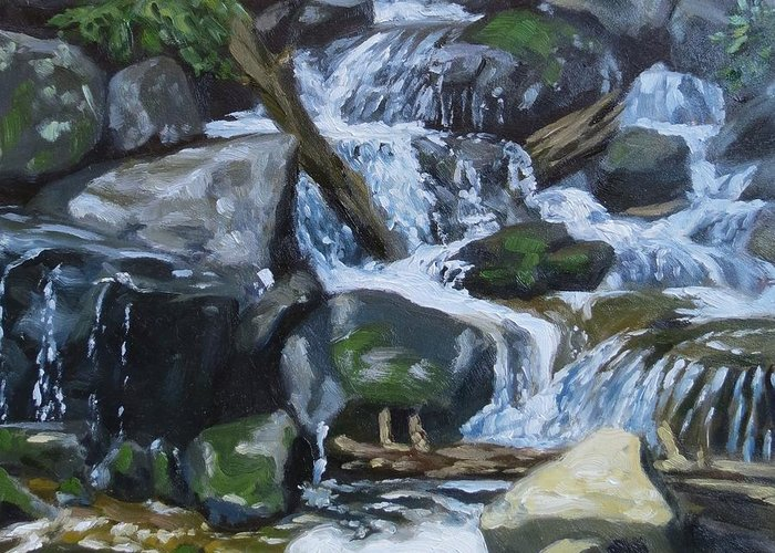 Landscape Greeting Card featuring the painting Trickle Down by Jaymi Krystowiak