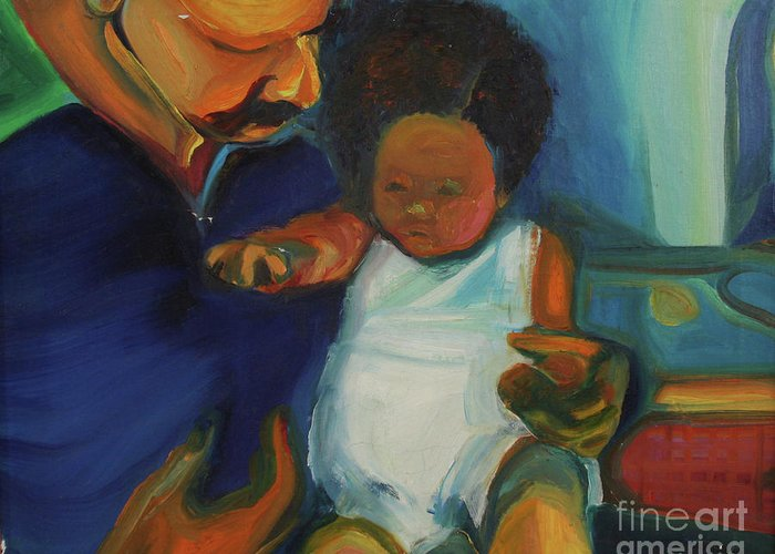 Oil Painting Greeting Card featuring the painting Trina Baby by Daun Soden-Greene