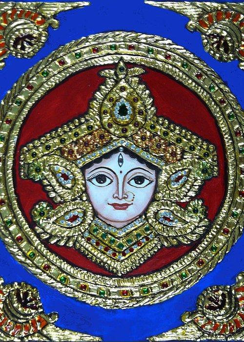 Goddess Durga Greeting Card featuring the painting trinetra Durgaji by Vimala Jajoo