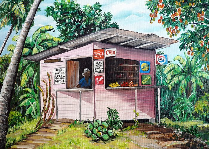 Shop Painting Greeting Card featuring the painting Trini Roti Shop by Karin Dawn Kelshall- Best