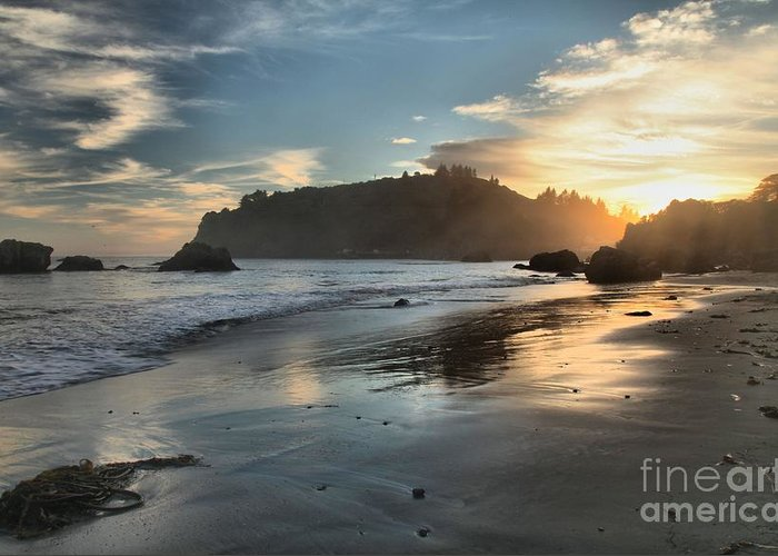 Trinidad State Beach Greeting Card featuring the photograph Trinidad Beach Reflections by Adam Jewell