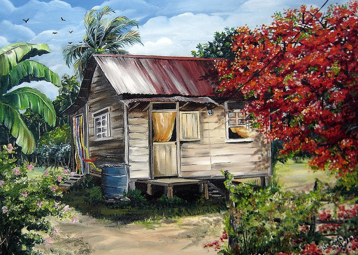 Landscape Paintings Tropical Paintings Trinidad House Paintings House Paintings Country Painting Trinidad Old Wood House Paintings Flamboyant Tree Paintings Caribbean Paintings Greeting Card Paintings Canvas Print Paintings Poster Art Paintings Greeting Card featuring the painting Country Life by Karin Dawn Kelshall- Best