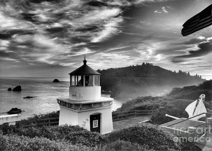 Trinidad Beach Greeting Card featuring the photograph Trinidad Light In Black And White by Adam Jewell