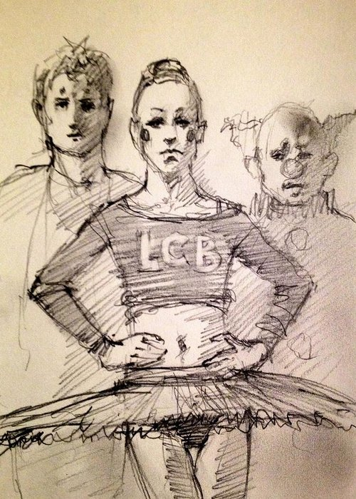 Ballet Greeting Card featuring the drawing Trio by H James Hoff