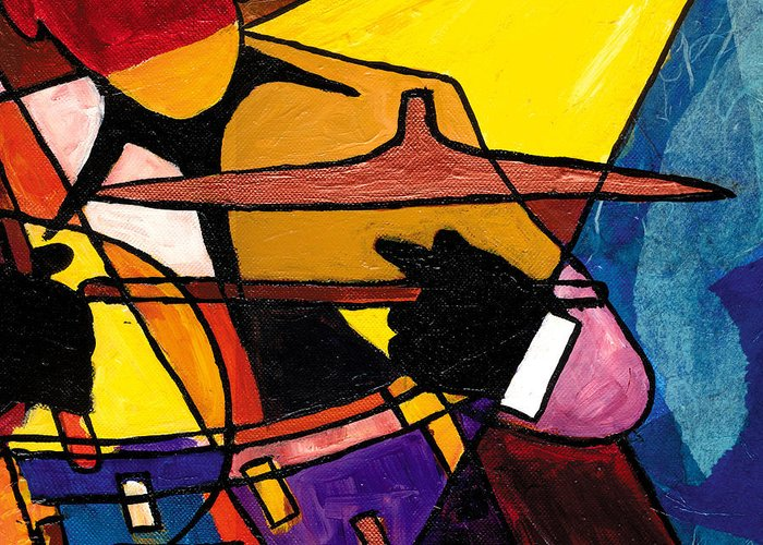 Jazz Art Greeting Card featuring the painting Trip Trio 3 Of 3 by Everett Spruill