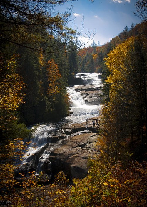 Penny Lisowski Greeting Card featuring the photograph Triple Falls by Penny Lisowski