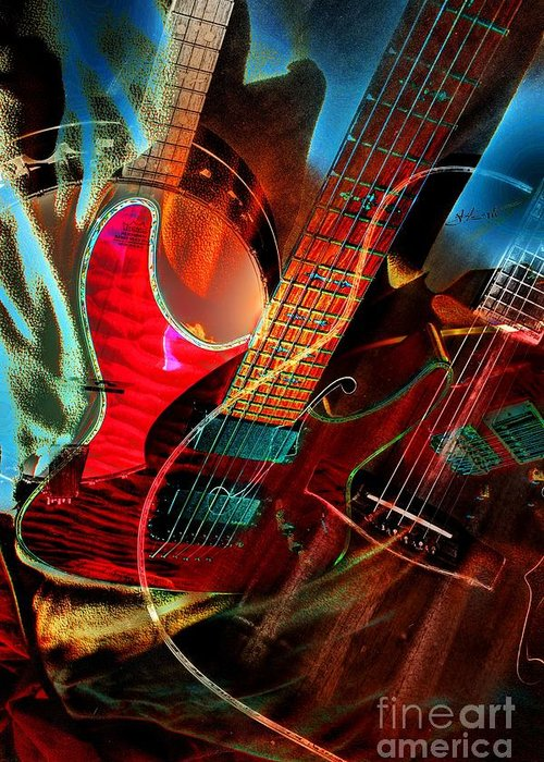 Acoustic Greeting Card featuring the photograph Triple Header Digital Banjo And Guitar Art By Steven Langston by Steven Lebron Langston