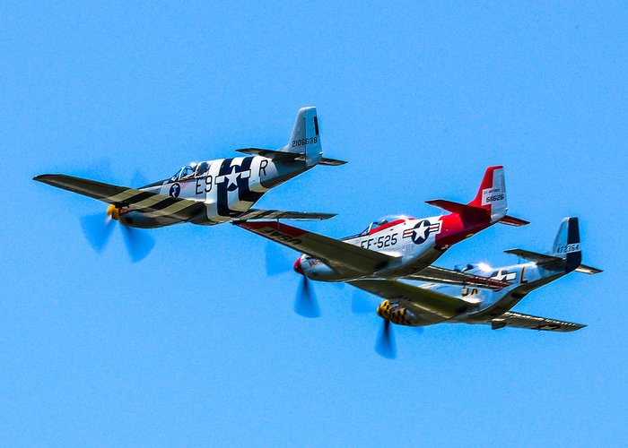 P51 Photographs Greeting Card featuring the photograph Triple Mustangs by Puget Exposure