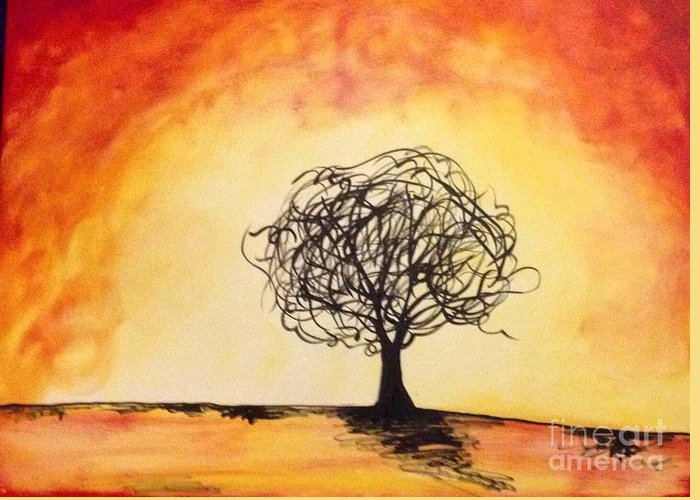Tree Art Greeting Card featuring the painting Tripping Tree by Sarah Brenner