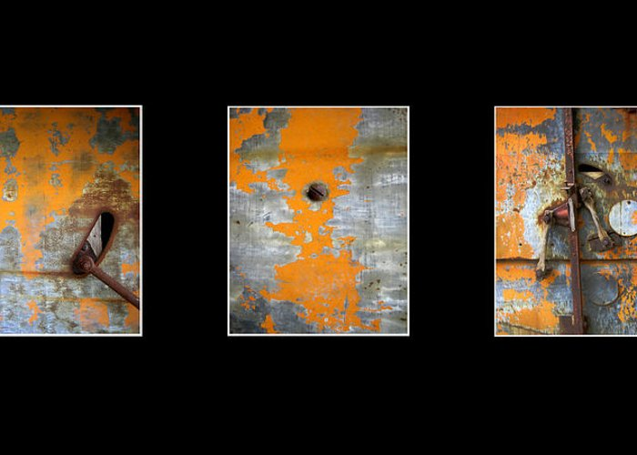 Photography Greeting Card featuring the photograph Triptych Old Metal Series by Ann Powell