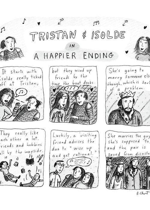 Music Greeting Card featuring the drawing Tristan & Isolde In A Happier Ending by Roz Chast