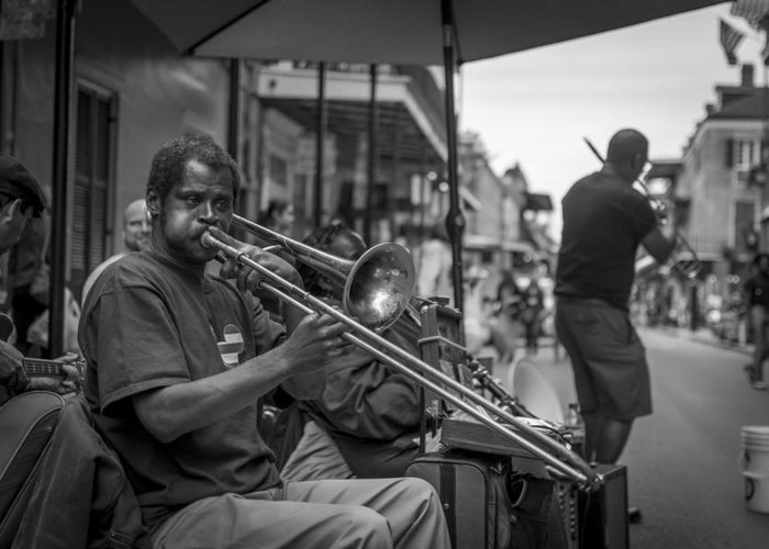 Trombone In The Big Easy Greeting Card featuring the photograph Trombone In New Orleans 2 by David Morefield