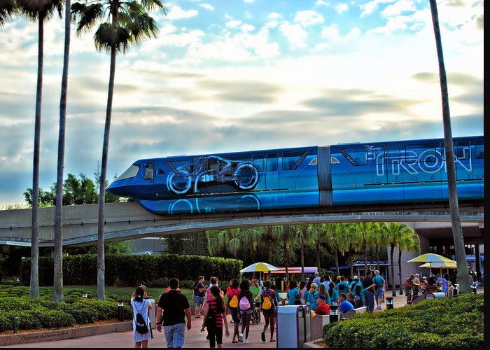 Monorail Greeting Card featuring the photograph Tron Monorail At Walt Disney World by Thomas Woolworth