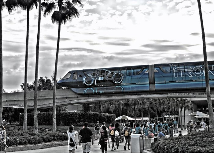 Tron Greeting Card featuring the photograph Tron Monorail Wdw In Sc by Thomas Woolworth