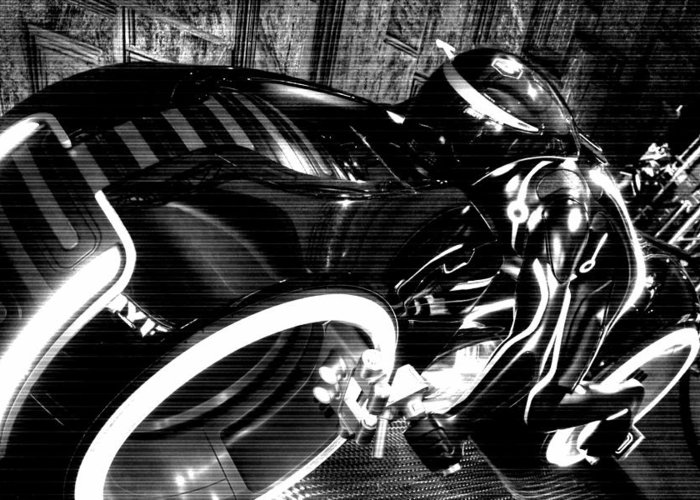 Tron Greeting Card featuring the photograph Tron Motor Cycle by Michael Hope